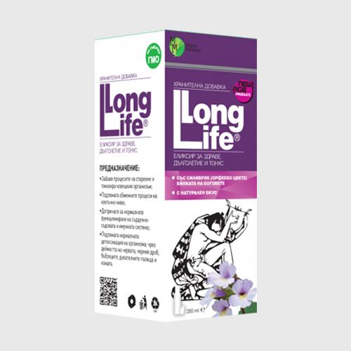 LONG LIFE (сироп 200ml) - Подпомага обменните процеси на клетъчно ниво и забавя процесите на стареене и тонизира човешкия организъм.