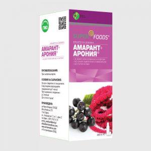 Амарант и Арония (200ml): сироп без глутен, без захар. подсладители, оцветители. Не съдържа ГМО.