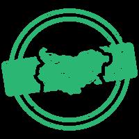 Карта на България в зелен цвят (лого)